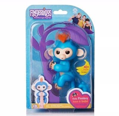 Authentic Fingerlings Interactive Baby Monkey By Wowwee Boris Fingerling Blue