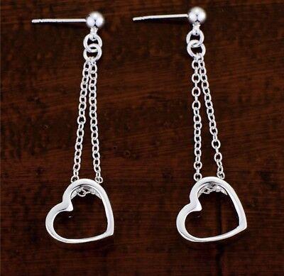 - Heart Threader Sterling Silver Stud Plated Dangle Earrings NEW US Seller