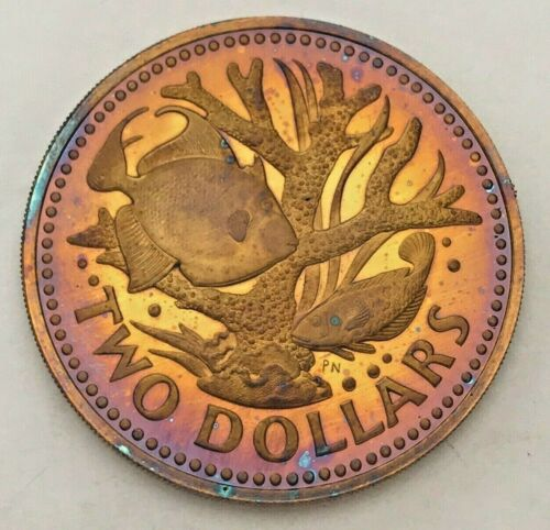 1973 BARBADOS TWO DOLLAR BU GORGEOUS VIBRANT MAGENTA COLOR TONED UNC (MR)