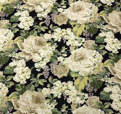 Ballard Designs Beatrice Black Large Floral Linen Designer Fabric By Yard 54 W
