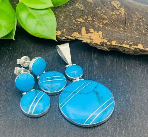 TAXCO Earrings & Pendant set 950 Sterling Silver Turquoise - Mexico jewelry