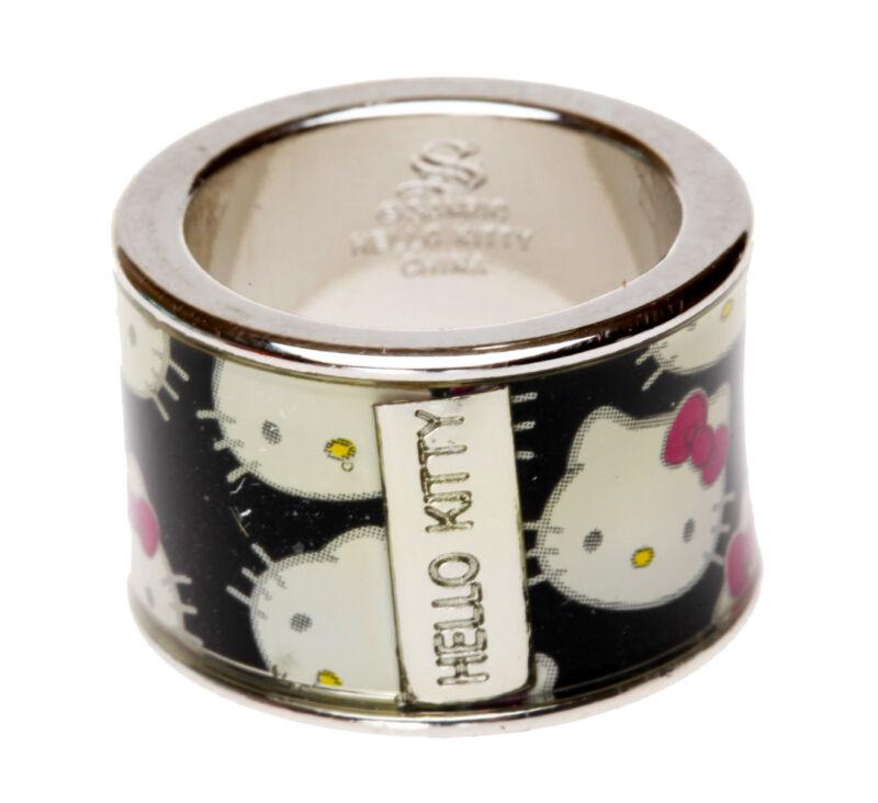 SANRIO - HELLO KITTY WIDE 14mm BLACK BAND PATTERN RING sz 6
