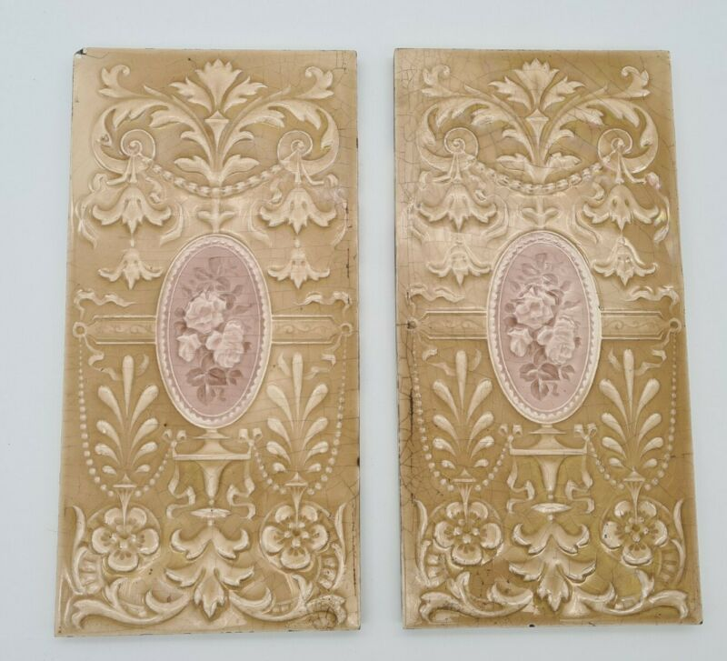 """ANTIQUE PAIR OF VICTORIAN 12""""X 6"""" MOULDED MAJOLICA TILES by SHERWIN & COTTON"""