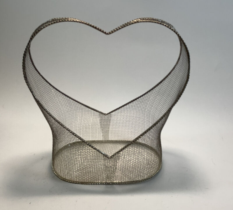 Wire Mesh Basket With Heart Shaped Handle Home Decor 11 Inches X 9 Inches