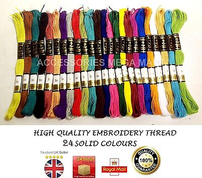 24 Anchor Cotton embroidery sewing Thread stitch Floss solid fast basic colours for sale  Shipping to Ireland