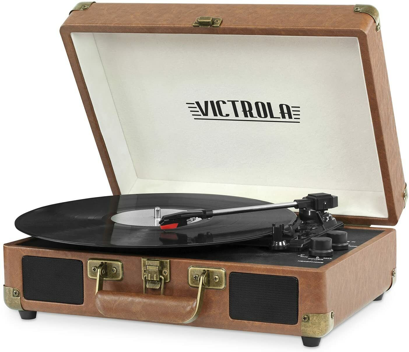 Vintage 3-Speed Bluetooth Suitcase Turntable with Speakers, Brown Record Player