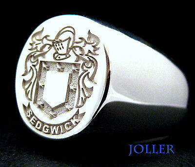 CUSTOM MADE FAMILY CREST SIGNET RING ENGRAVED STERLING SILVER BY JOLLER