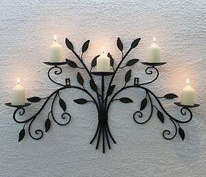 Wandkerzenhalter 12119 Kerzenhalter aus Metall Schmiedeeisen 70cm Kerzenleuchter
