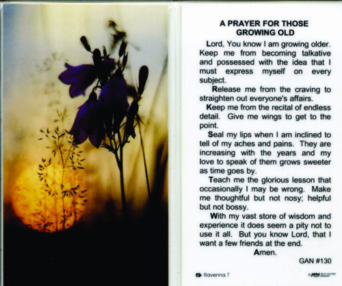 A prayer for Those Growing Old Keep Me From Being too Talkative Laminated Card