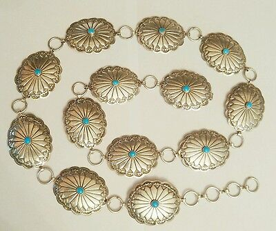 189g NAVAJO STERLING SILVER TURQUOISE CONCHO BELT NATIVE AMERICAN DEAD PAWN