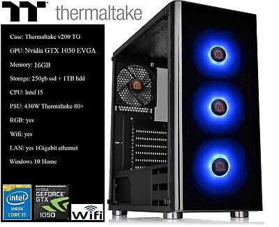 Thermaltake Custom Gaming PC Intel i5, GTX 1050, 250gb ssd+1TB HDD, 16gb RAM