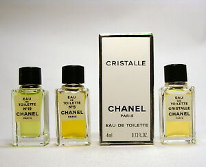 CHANEL Collection 3 mini perfume edt chanel 5, cristalle, chanel 19 - Only 1 box