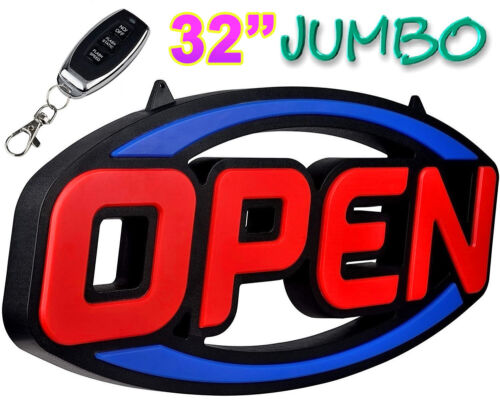 """Extra Large LED Open Sign 32"""" Bright Remote for Business Restaurant Store Bar"""