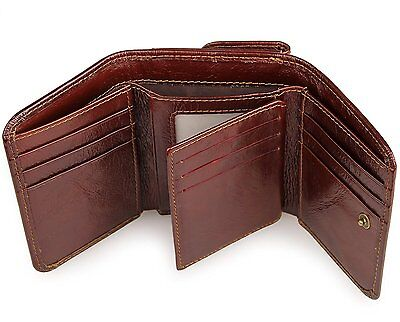 Augus Leather Mens RFID Trifold Wallet with Double ID Window and Credit Card