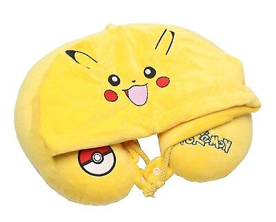 Finex Pokemon Pikachu YELLOW U shape Travel Neck Pillow with hood for Home Car