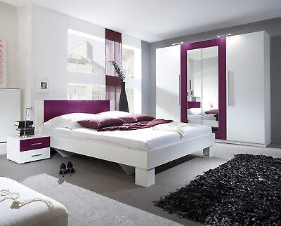 Schlafzimmer Set Komplett 228cm Kleiderschrank Bett 180x200cm weiß / lila 54018 ()
