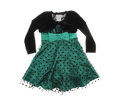 Jona Michelle Girls' 2-Pc Polka Dot Party Dress w/ Velvet Shrug - Green/Black - Girls Velvet Shrug