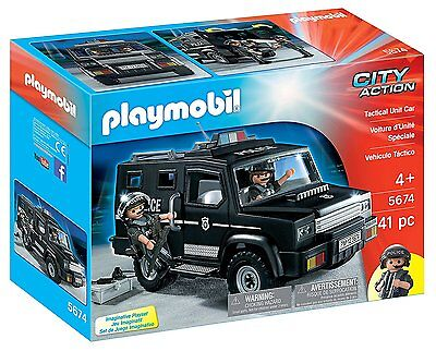 PLAYMOBIL 5674 Tactical Unit Police Car Jeep Action Ages 4+ New Toy Boys Girls
