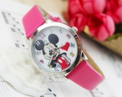 Kids Girls Mickey Mouse Dark Pink Wrist Watch minnie Analogue Leather Strap Slim