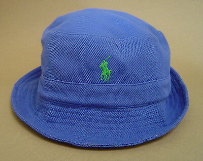 NWT $50 POLO RALPH LAUREN S M L XL COTTON MESH KNIT BUCKET HAT Royal Blue