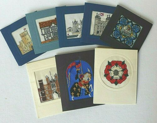 LOT OF 8 FINISHED CROSS STITCH CARDS