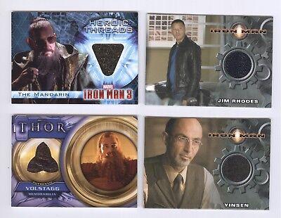 Marvel Cinematic Universe Movie Memorabilia Costume Card Lot Iron Man Thor MCU