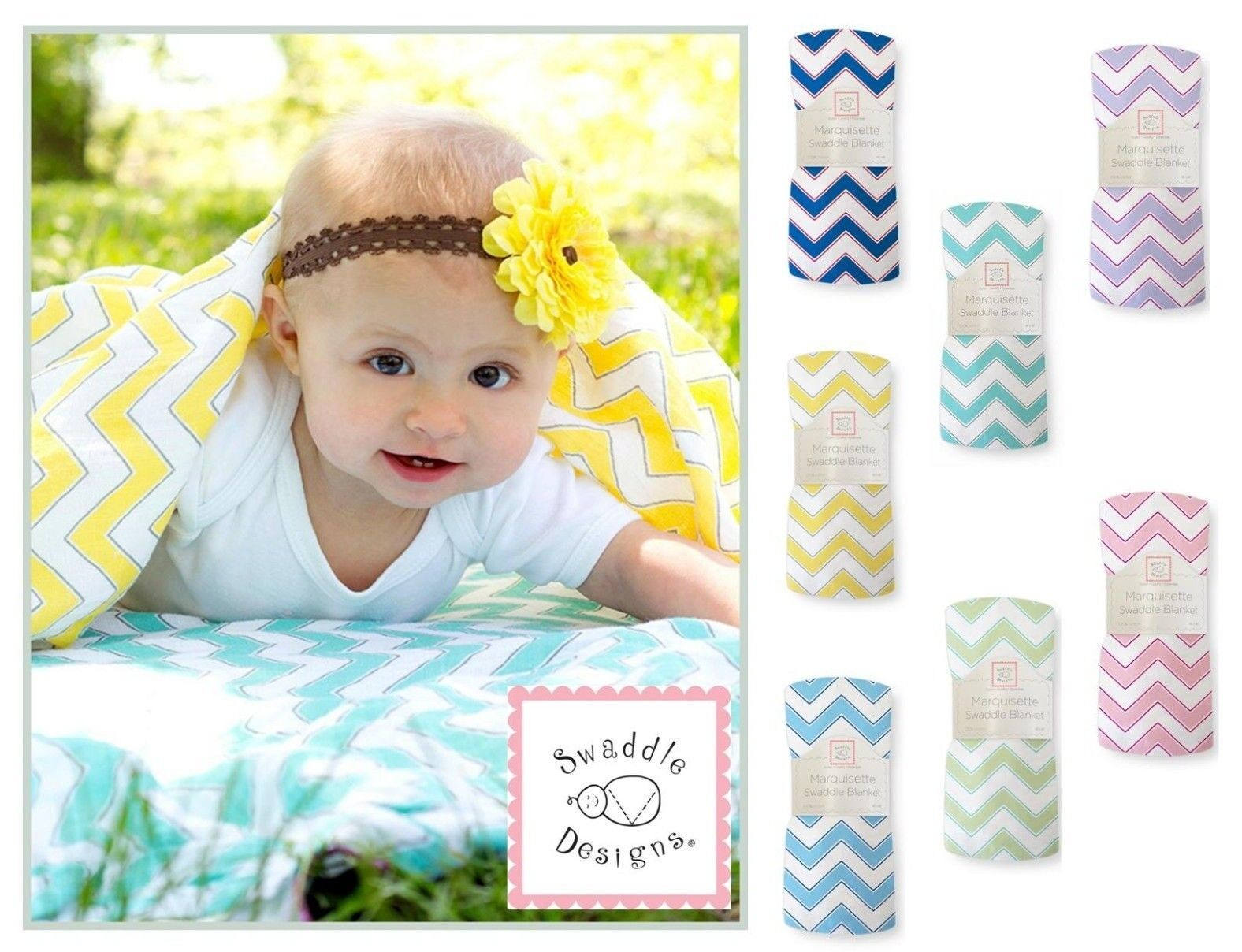 SwaddleDesigns Chevron Marquisette Swaddle Blanket softer th