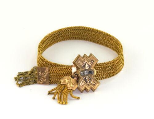 Antique Victorian Edwardian Gold Filled Mesh Slide Tassle Bracelet