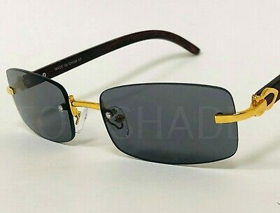Small Men's Top Quality Rimless Gold Frame Brown Lens Wood Grain New (Quality Sunglasses)