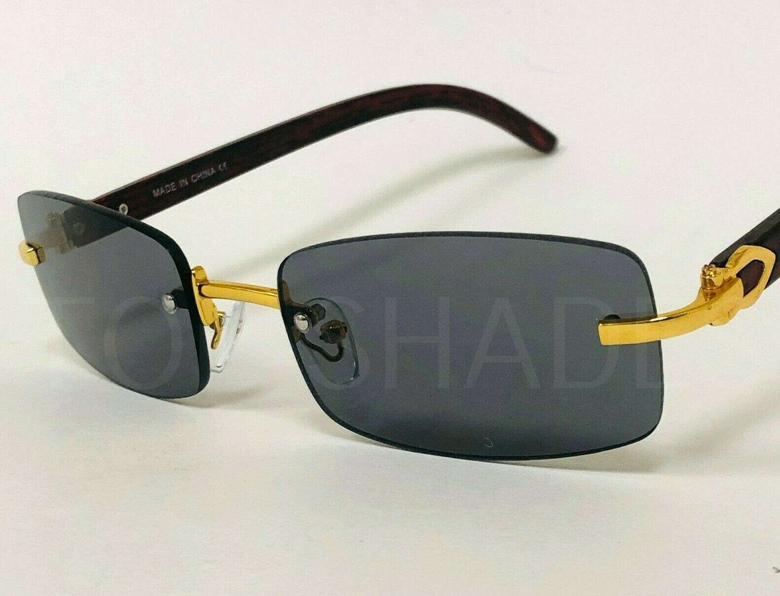 Small Frame Wood Buffs Migos Sunglasses Square Gold Frame Bl