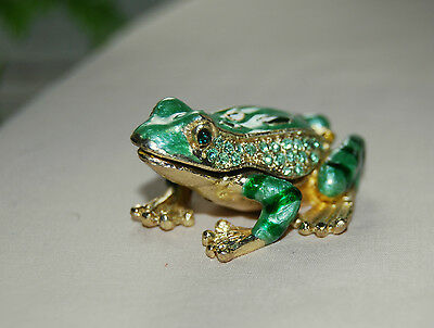 Bejeweled Frog - Brand New FANCY FROG Limoge style enameled and bejeweled metal trinket box !