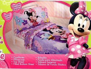 Disney Minnie Mouse 4 piece Toddler Bedding Set Bow-tique Lavander