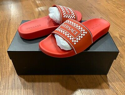 "$395 Men's Authentic VERSACE ""Ciabatta Mare Gonna Scritta"" Slides Red 44 US 11"