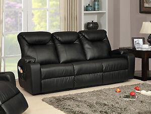 New Luxury Cinema Lazy Boy 3 Seater Bonded Leather Recliner Sofa - Black