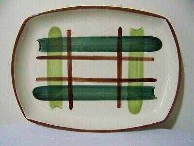 Oval Serving Platter Green Brown Hand Decorated Vintage (Plaid Platten)