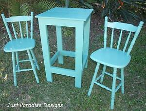 Bar Table Green Hand Crafted plus 2 Up cycled Bar Stools Beachmere Caboolture Area Preview