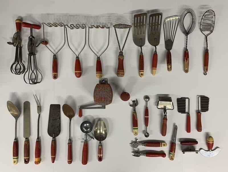 Vintage Red Wood Handle Kitchen Tools Utensils Primitives Ekco Skyline Lot Of 30