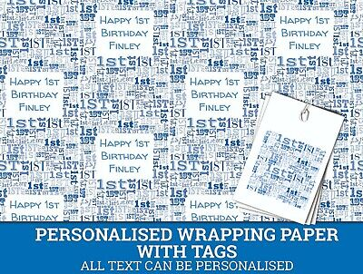 Personalised Happy 1st Birthday Wrapping paper - Blue Baby's 1st Gift Wrap