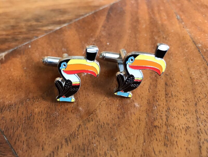 VINTAGE Authentic GUINESS ENAMEL CUFF LINKS CLASSIC TOUCAN SIGNED Guinness
