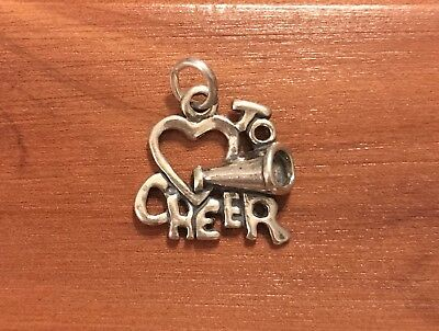 "Sterling Silver ""Love To Cheer"" Cheer Charm/Pendant .925 NWOT"
