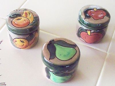 New Mexican Pottery 3 Assorted Hand Painted Round Trinket Box / Candle Holder D