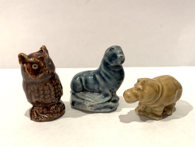 3 Wade England Red Rose Tea Figures Figurines - Owl  Seal  Hippo / Hippopotamus