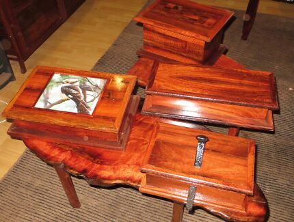 WOODEN TREASURE BOXES AND TABLES