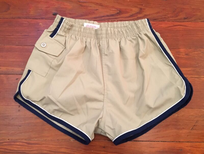 VTG 70s Kids Boys Shorts Athletic Jogging Khaki Navy Piping MARATHON Sz 16/18 L