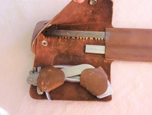 "Vintage Wyoming Saw Wood - Bone 11"" Blades Leather Case Hunt Camp Survival"