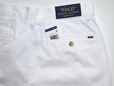 NWT Men's Polo Ralph Lauren Casual Shorts, Classic Fit, White Sz. 38