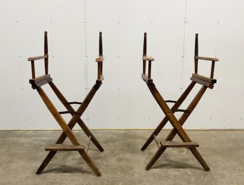 VINTAGE DIRECTORS FOLDING CHAIRS WOOD CANVAS SEAT MID CENTURY - $149.95