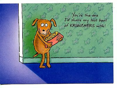 Cute Dog Holds Bowl of Krunchers Dog Food-Hallmark Friend Greeting Postcard