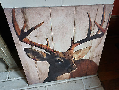 Buck Deer Lodge Cabin Sign Rustic Wood Plank Framed Canvas Hunting Home Decor