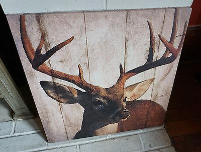 Rustic Lodge Deer - Buck Deer Lodge Cabin Sign Rustic Wood Plank Framed Canvas Hunting Home Decor